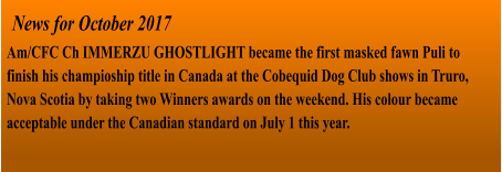 News for October 2017 Am/CFC Ch IMMERZU GHOSTLIGHT became the first masked fawn Puli to finish his champioship title in Canada at the Cobequid Dog Club shows in Truro, Nova Scotia by taking two Winners awards on the weekend. His colour became acceptable under the Canadian standard on July 1 this year.